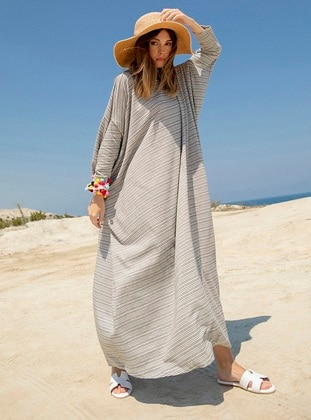White - Stripe - Crew neck - Unlined -  - Dress