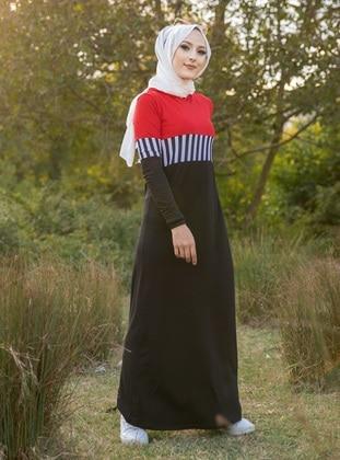 Red - Unlined - Viscose - Dress