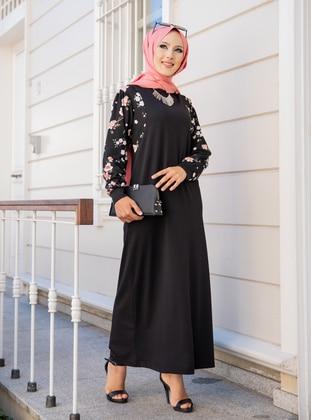 Black - Floral - Crew neck - Unlined - Dress