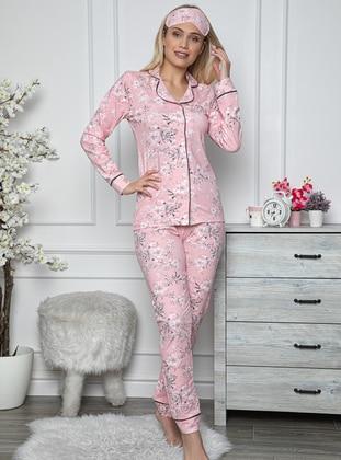 Pink - Multi -  - Combed Cotton - Pyjama Set - Fawn