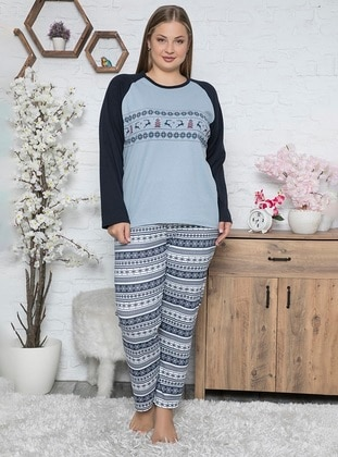 Blue - Crew neck -  - Pyjama Set