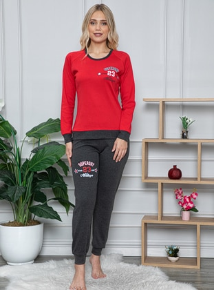 Red - Crew neck -  - Pyjama Set
