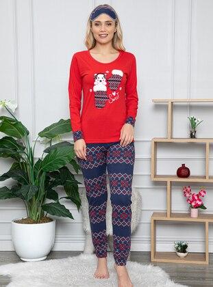 Red - Crew neck - Multi - - Combed Cotton - Pyjama Set