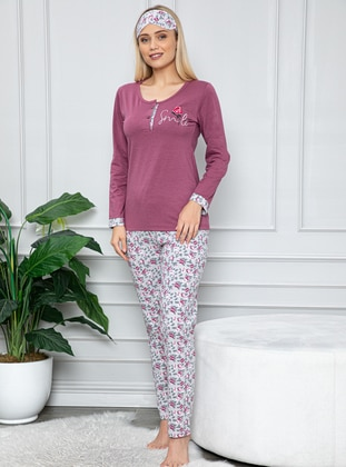 Lilac - Crew neck - Multi -  - Combed Cotton - Pyjama Set