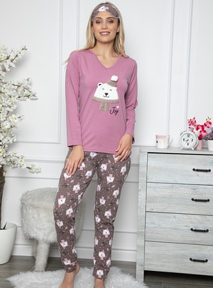 Lilac - V neck Collar - Multi -  - Combed Cotton - Pyjama Set