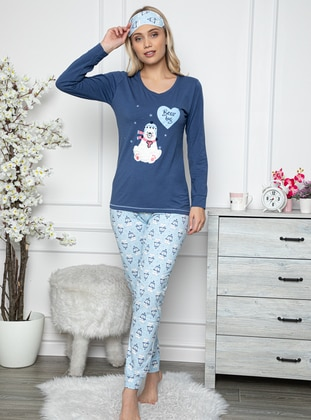 Blue - Crew neck - Multi - - Combed Cotton - Pyjama Set
