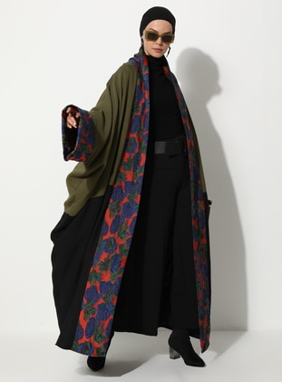 Khaki - Black - Unlined - Shawl Collar -  - Abaya