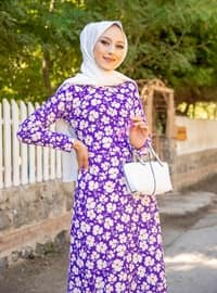 Purple - Floral - Crew neck - Unlined - Dress