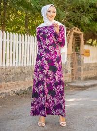 Purple - Multi - Crew neck - Unlined - Crepe - Dress