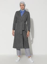 Gray - Unlined - V neck Collar - Viscose - Topcoat