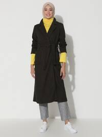 Khaki - Unlined - V neck Collar - Viscose - Topcoat