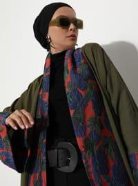 Khaki - Black - Unlined - Shawl Collar -  - Abaya