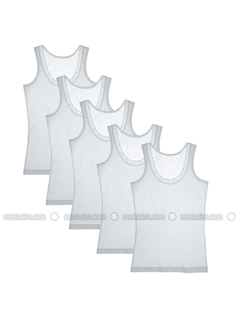 Crew neck - - Unlined - White - Girls` Underwear