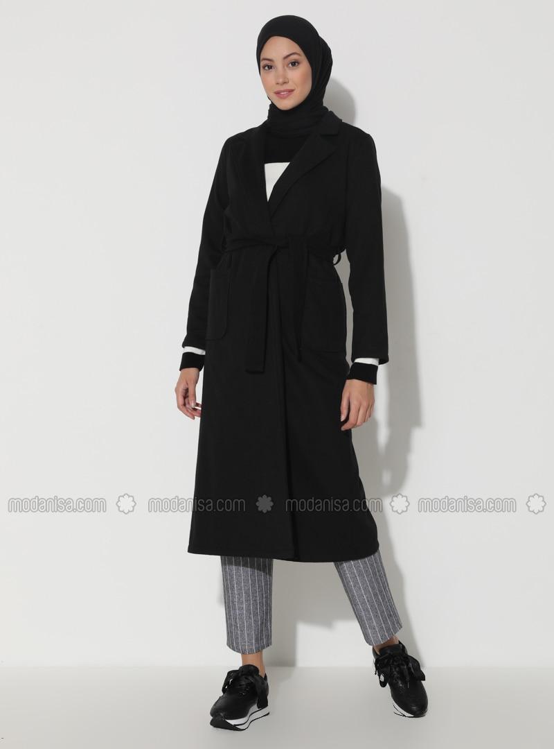 Black - Unlined - V neck Collar - Viscose - Topcoat