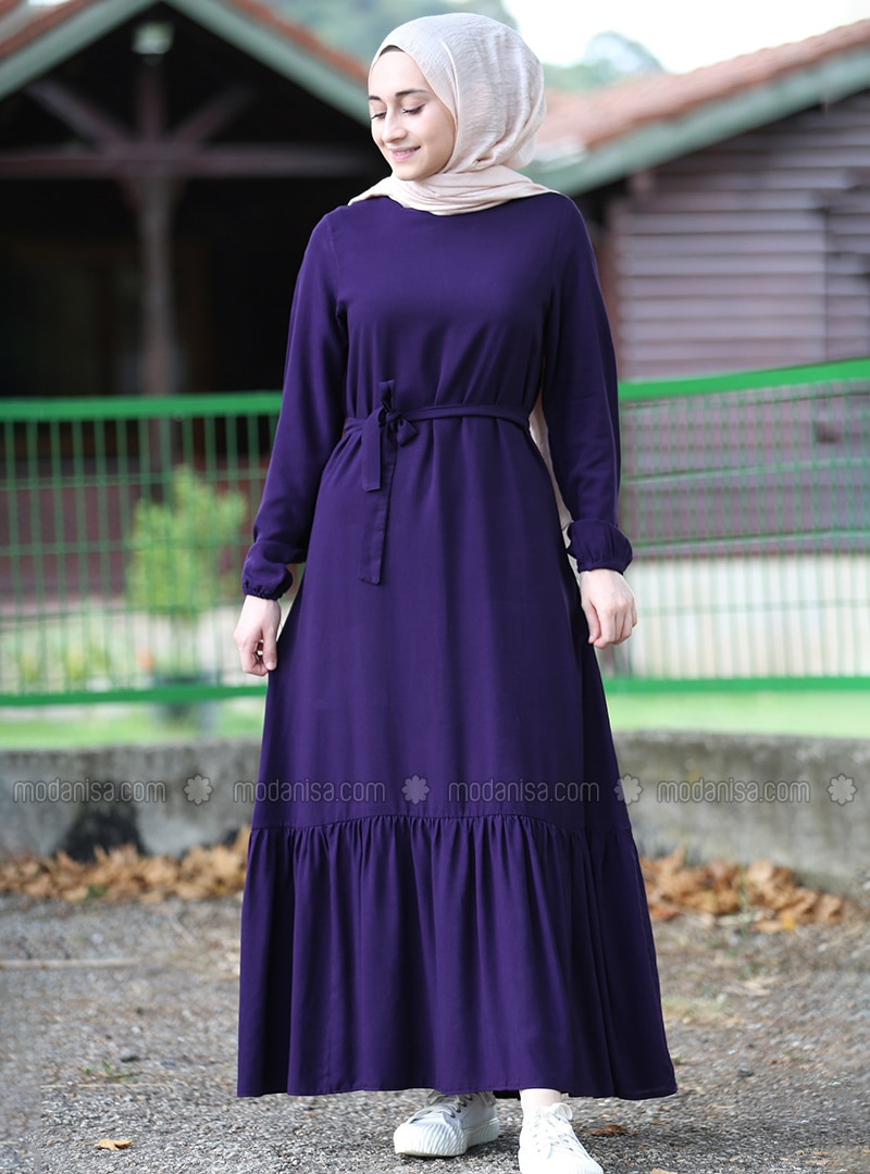 Purple - Crew neck - Unlined - Viscose - Dress