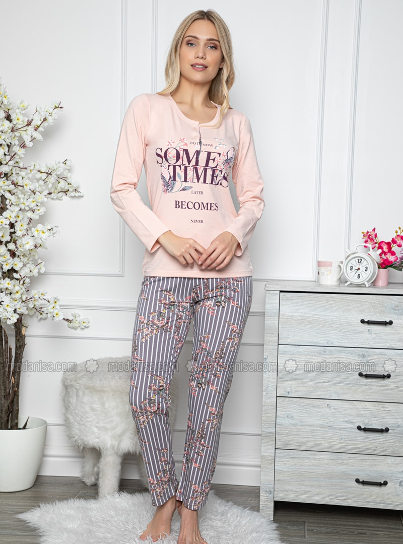 Salmon - Crew neck - Multi -  - Combed Cotton - Pyjama Set