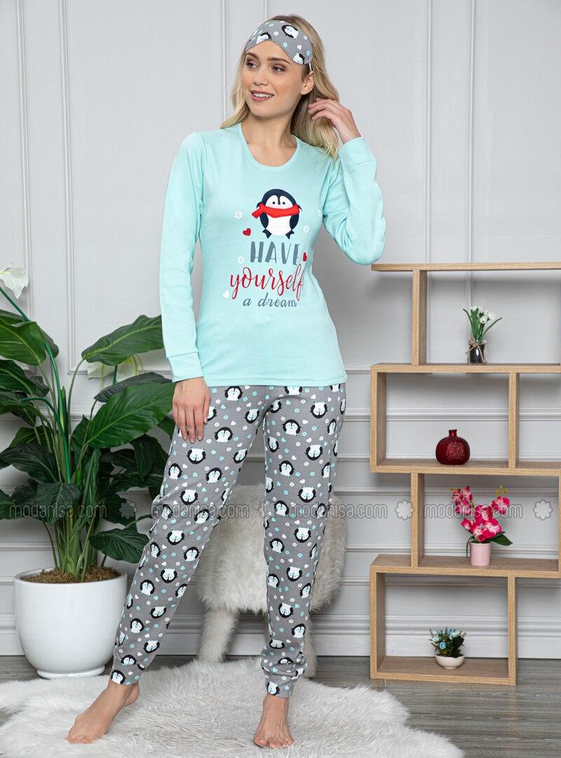 Green - Crew neck - Multi -  - Pyjama Set