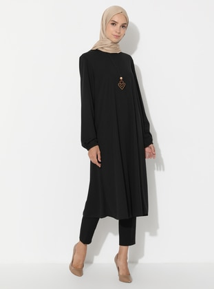Black - Crew neck - Tunic - ECESUN