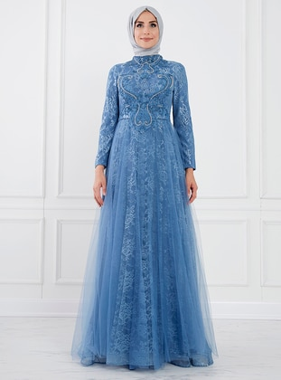 Blue - Unlined - Crew neck - Muslim Evening Dress