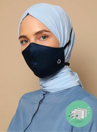 Navy Blue - Cotton - Cotton - Navy Blue - Mask