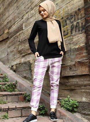 Lilac - Checkered - Acrylic -  - Pants