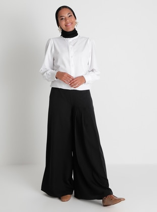 Pleat Detailed Trousers Skirt - Black - Woman