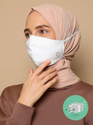 Cotton -  - White - Mask -  Maske