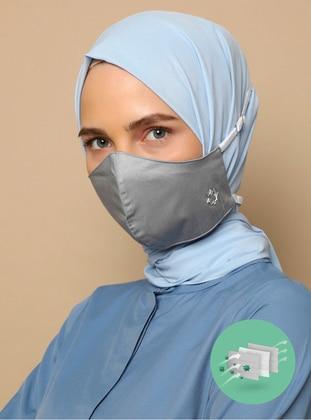 Gray - Cotton - Gray - Mask - Tuva