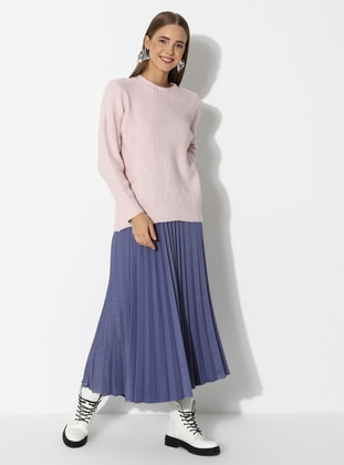 Pink - Powder - Unlined - Crew neck - Acrylic - - Knit Sweaters