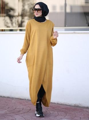 Mustard - Crew neck - Unlined - Knit Tunics