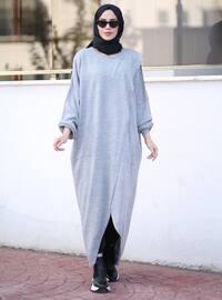 Gray - Crew neck - Unlined - Knit Tunics
