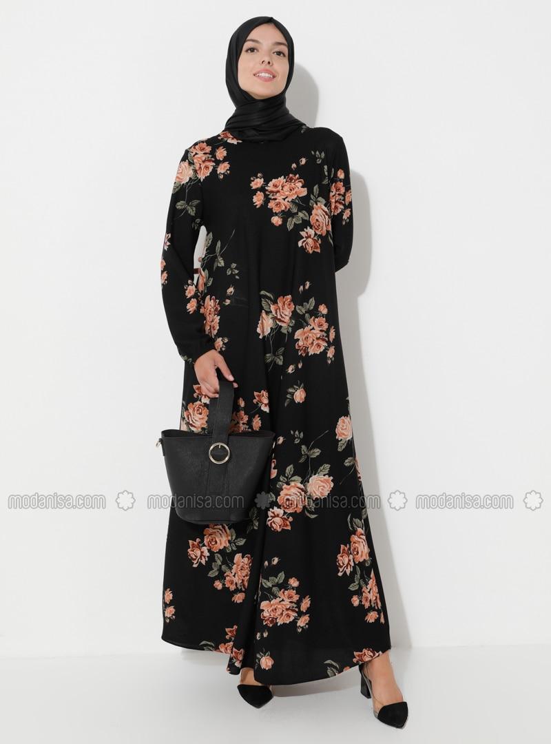 Dusty Rose - Black - Multi - Crew neck - Unlined - Black - Multi - Crew neck - Unlined - Modest Dress