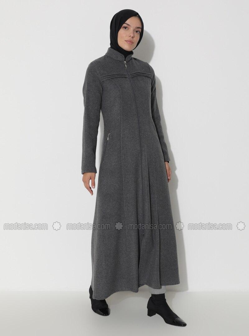 Gray - Unlined - Crew neck - Coat