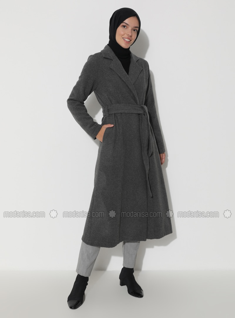 Gray - Unlined - Shawl Collar - Coat