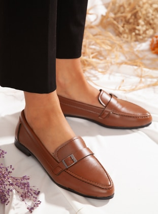Flat - Casual - Tan - Casual Shoes
