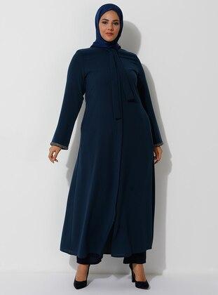 Petrol - Crew neck - Unlined - Plus Size Abaya