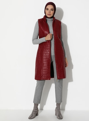 Maroon - Fully Lined - Polo neck - Vest