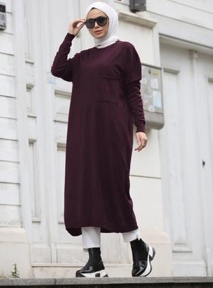 Maroon - Unlined - Crew neck - Acrylic -  - Knit Dresses