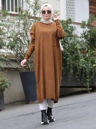 Mustard - Unlined - Crew neck - Acrylic -  - Knit Dresses