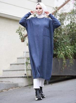 Indigo - Unlined - Crew neck - Acrylic -  - Knit Dresses