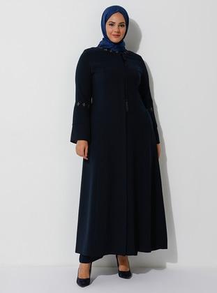 Navy Blue - Crew neck - Plus Size Abaya