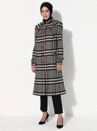 Black - Multi - Fully Lined - V neck Collar - Acrylic - Wool Blend - Coat
