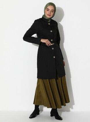 Black - Fully Lined - V neck Collar -  - Topcoat