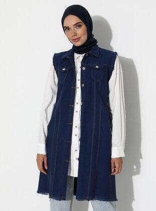 Blue - Unlined - Point Collar - Denim -  - Vest