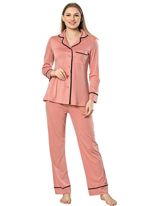 Coral - V neck Collar -  - Viscose - Pyjama Set