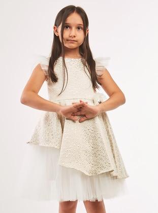 Multi - Crew neck - Unlined - Cream - Girls` Dress