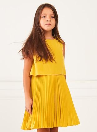 Multi - Crew neck - Unlined - Yellow - Girls` Dress