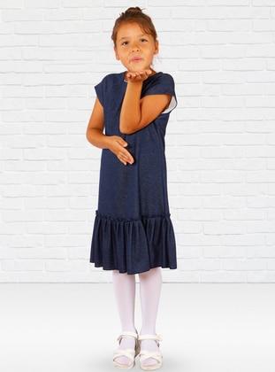 Crew neck -  - Navy Blue - Girls` Dress