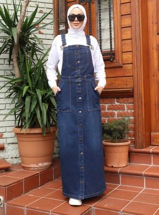 Unlined - Denim - - Navy Blue - Skirt Overalls