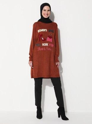 Tan - Crew neck - Unlined - Knit Tunics